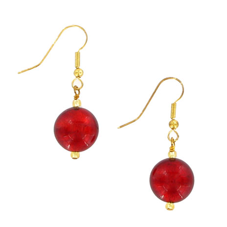 Red Murano earrings (gold fixtures)