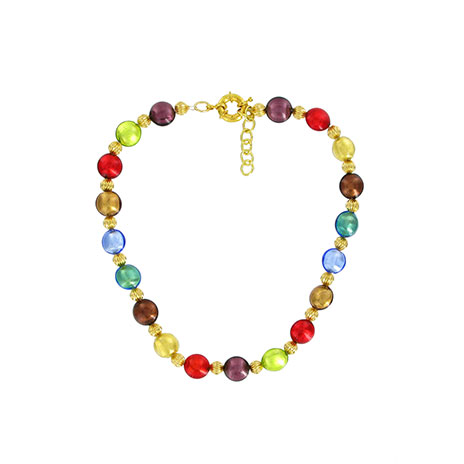 Murano glass beads necklace (gold)