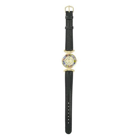 Murano glass leather watch (black)