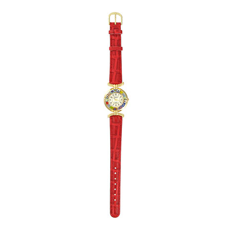 Murano glass and leather watch (red)