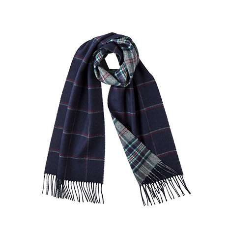 Navy check reversible scarf