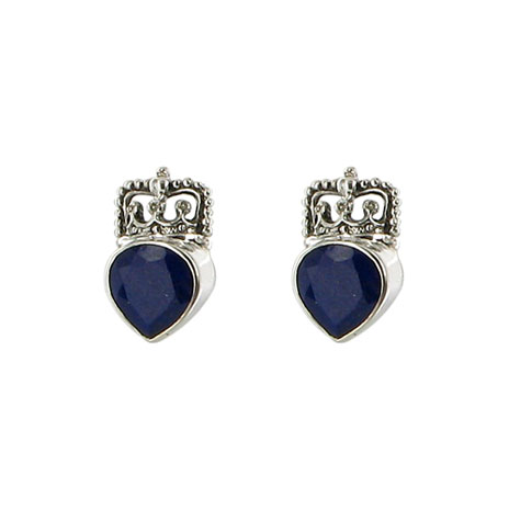 Heart and Crown earrings (lapis)