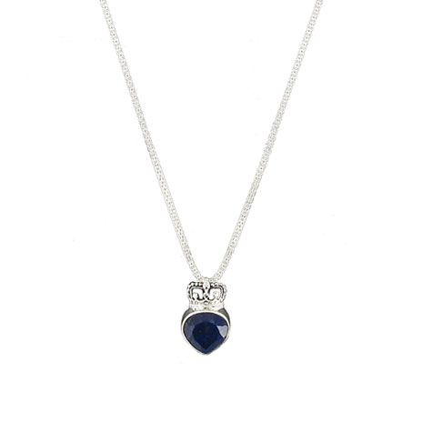 Heart and Crown necklace (lapis)