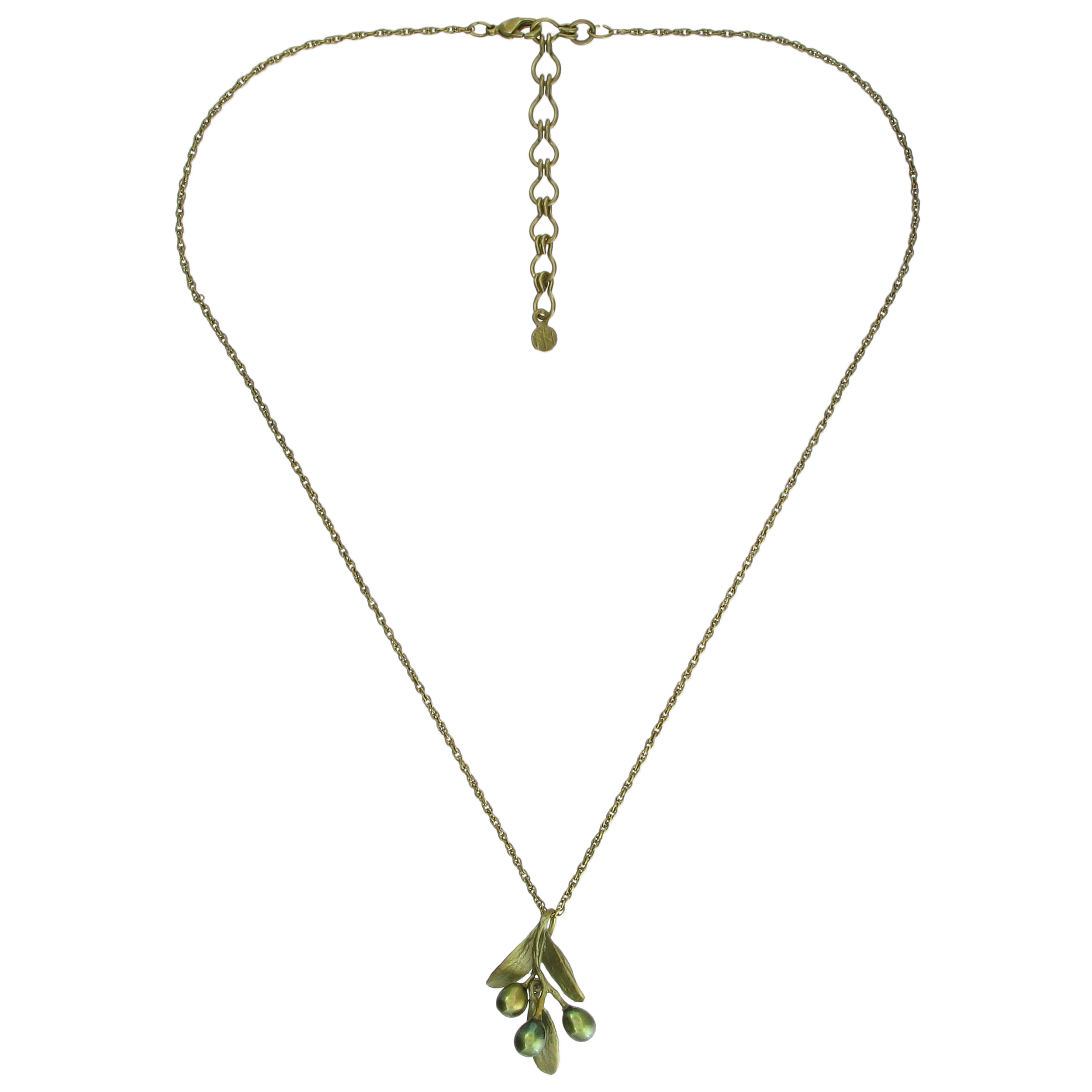 Olive pearl pendant necklace