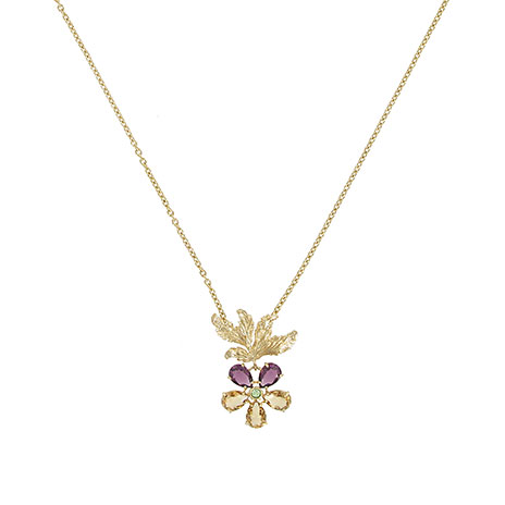 Pansy flower pendant necklace
