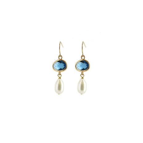 Pearl and blue crystal pendant earrings