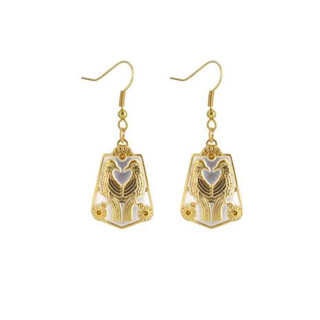 Persian lovebird drop earrings