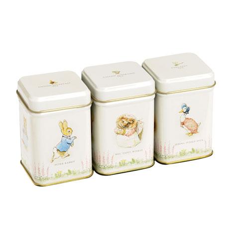 Peter Rabbit miniature tea tins (set of three)