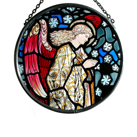 Praying Angel stained glass roundel (small)