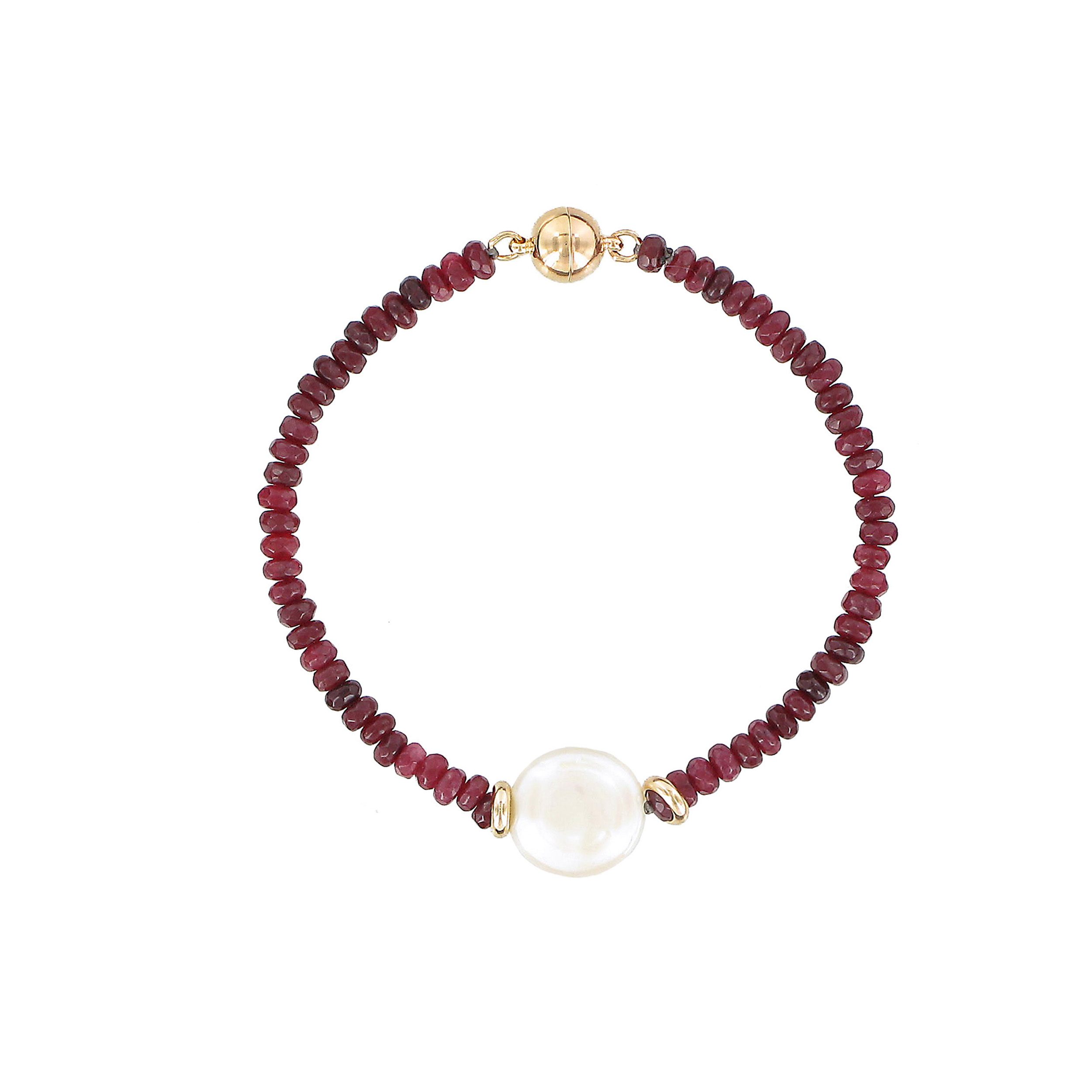 Red jade, pearl and white coin bracelet