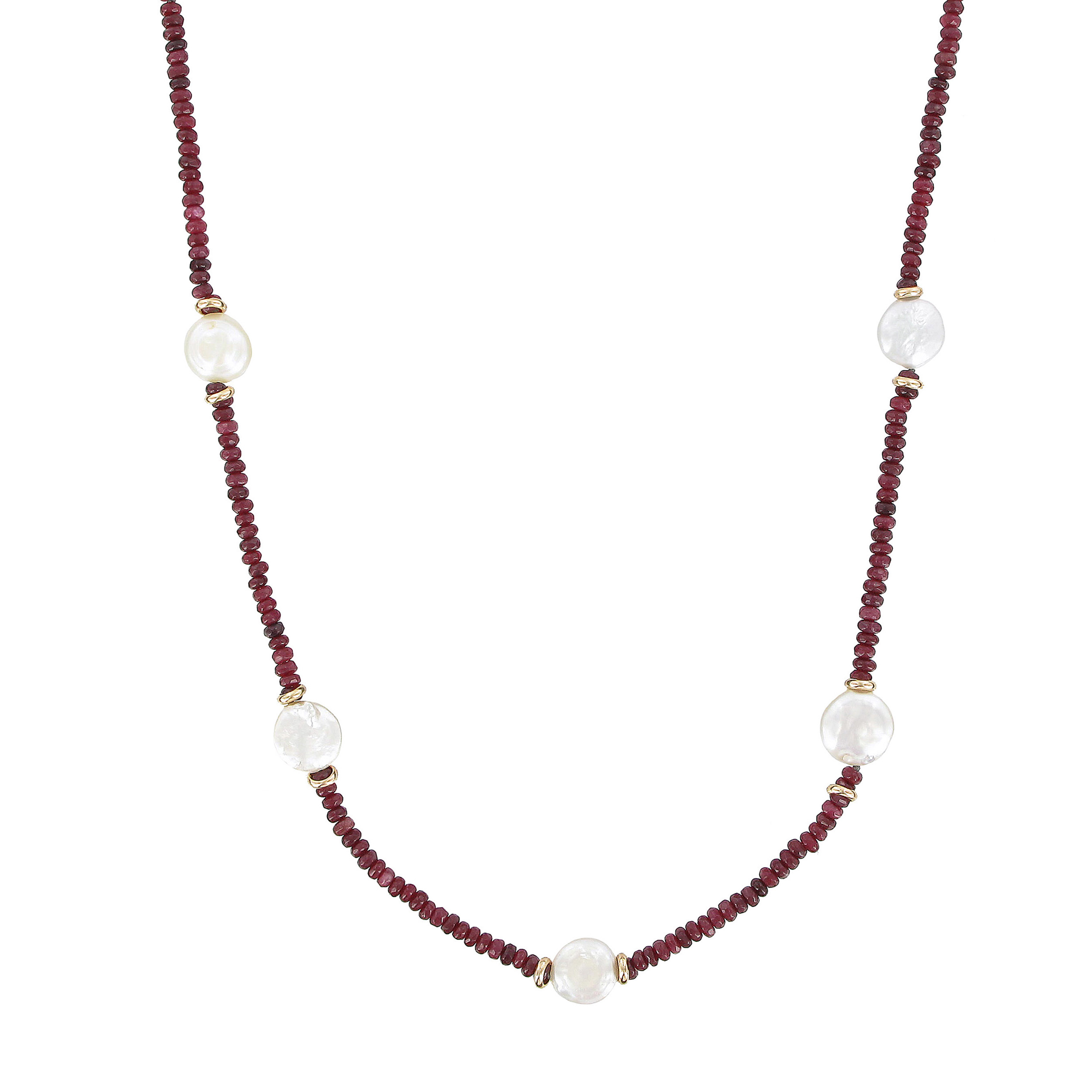 Red jade, pearl and white coin necklace