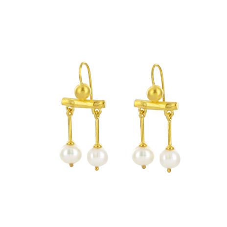 Gold Roman pearl drop earrings