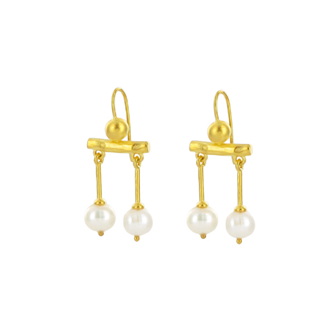 Gold Roman pearl drop earrings