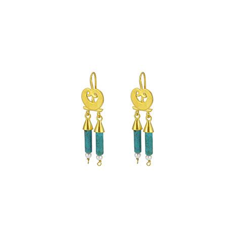 Roman turquoise pearl drop earrings