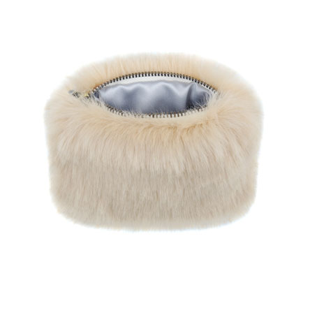 Sand faux fur coin purse