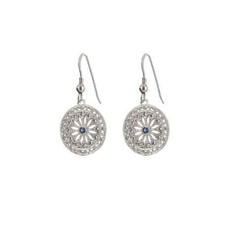 Sapphire filigree drop earrings