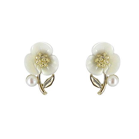Shell flower pearl earrings