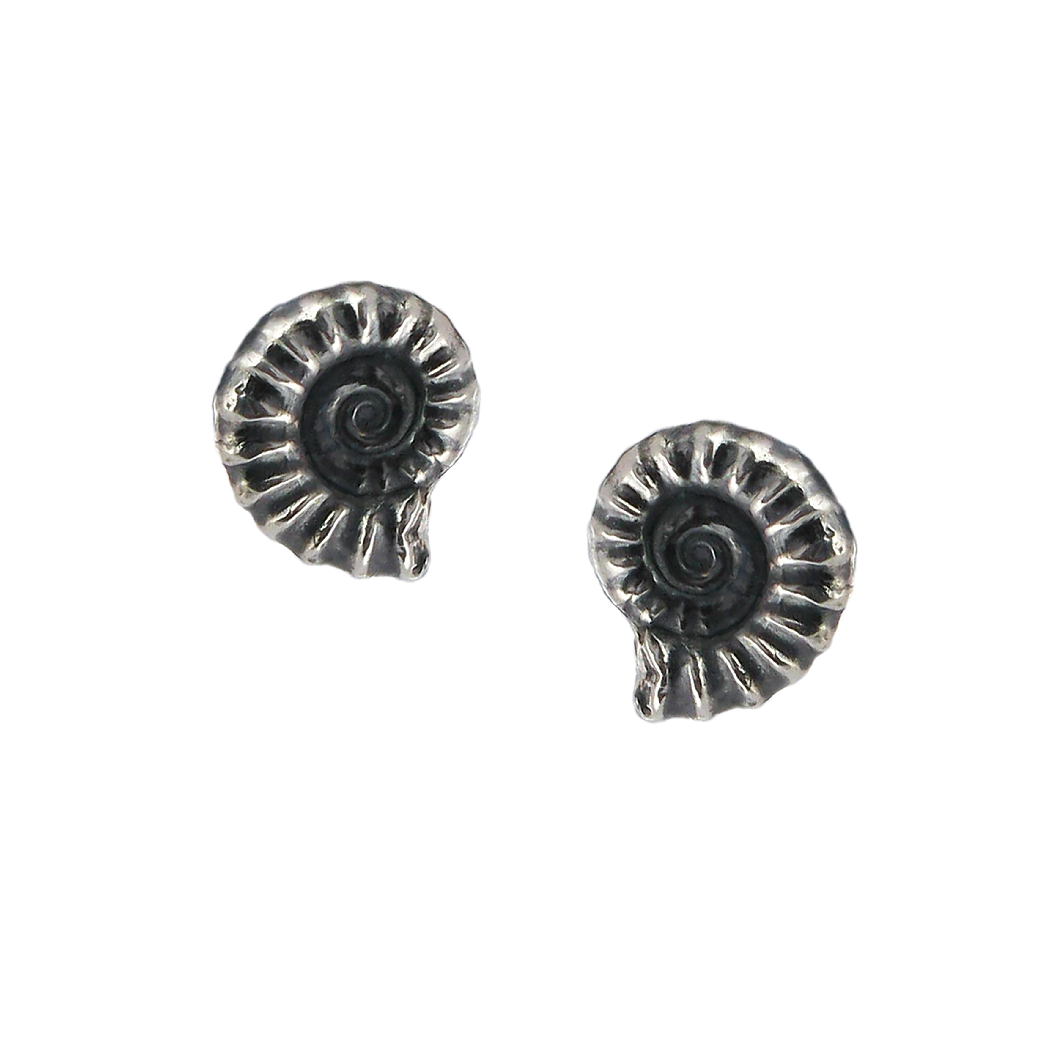 Silver ammonite stud earrings (medium)