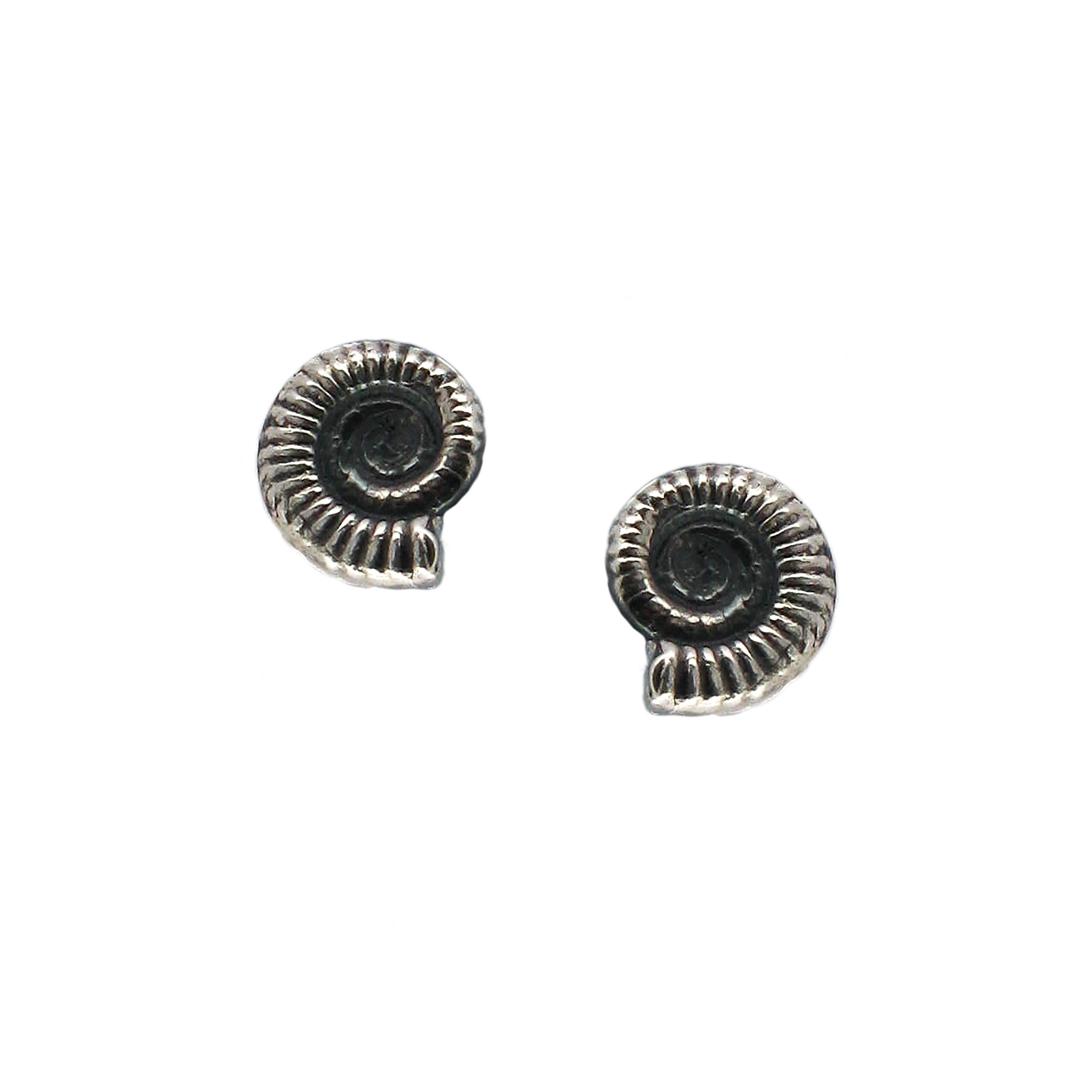 Silver ammonite stud earrings (small)