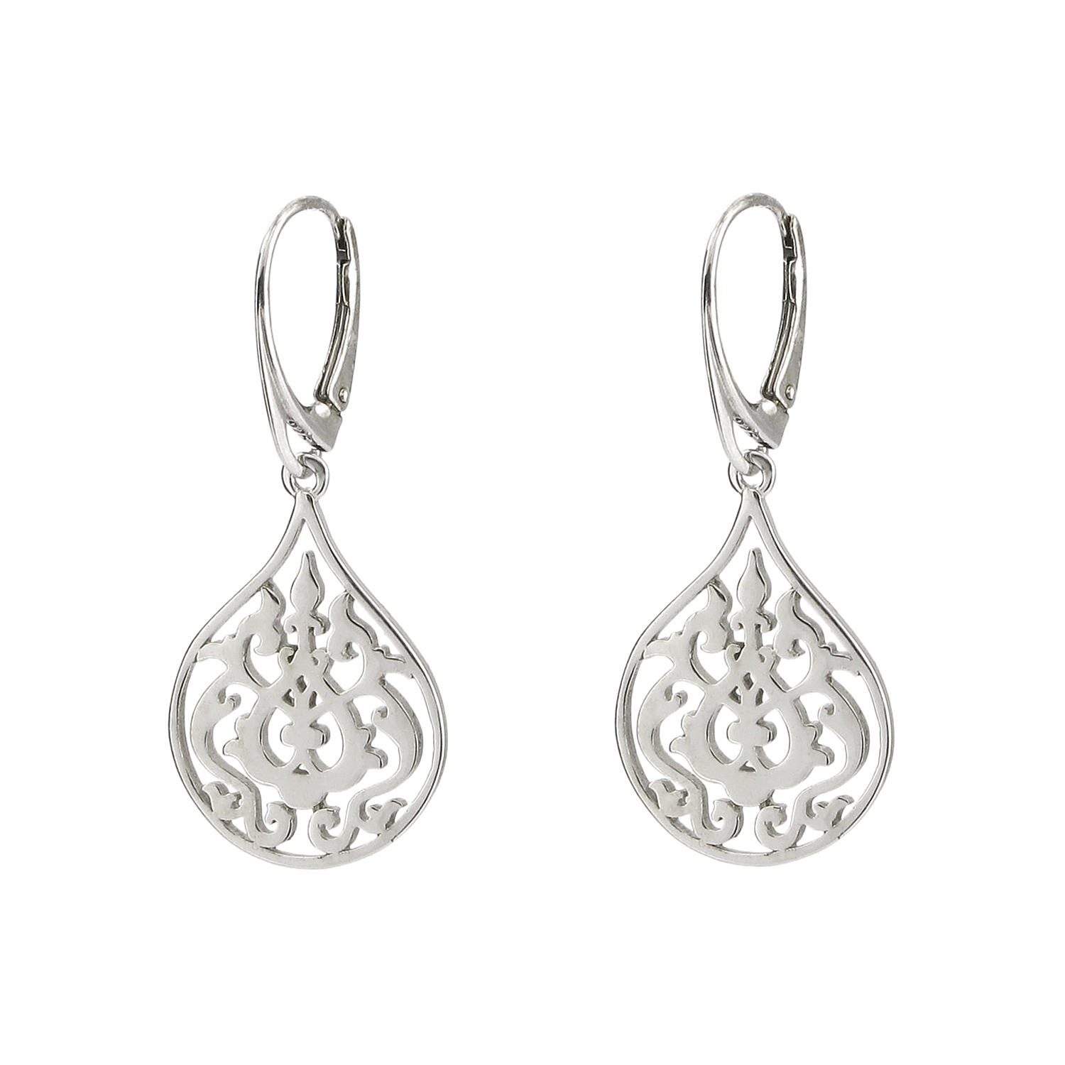 Silver arabesque floral earrings