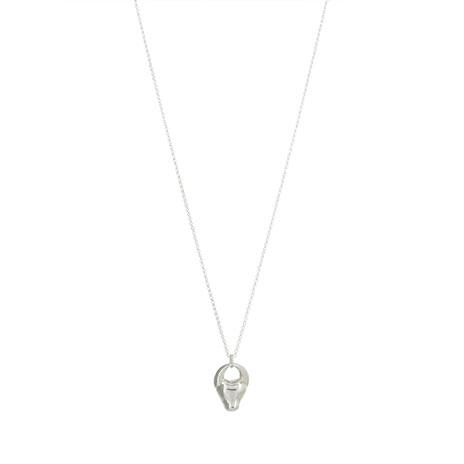 Silver bull's head necklace