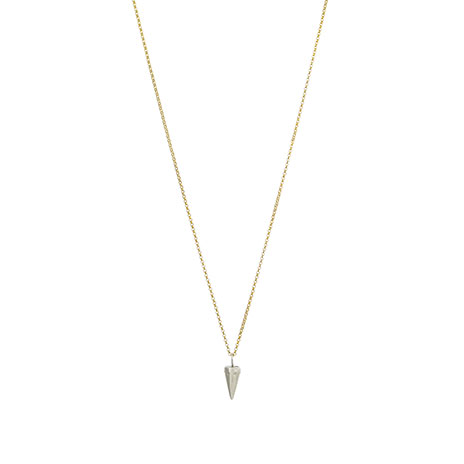 Silver bull horn pendant necklace