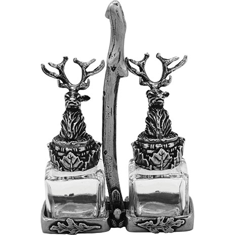 Stag salt and pepper set and stand