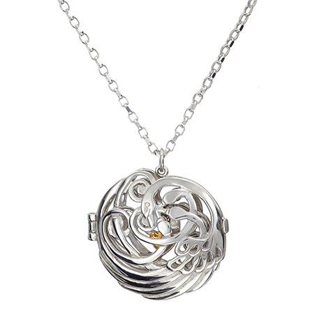 Swan heart locket