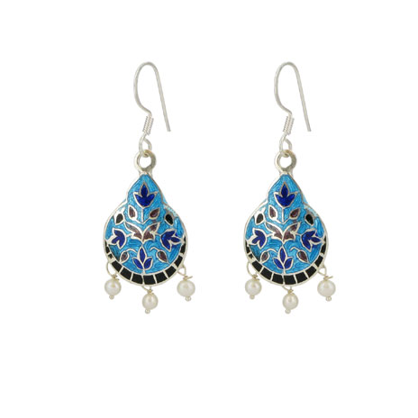 Turquoise and blue drop earrings