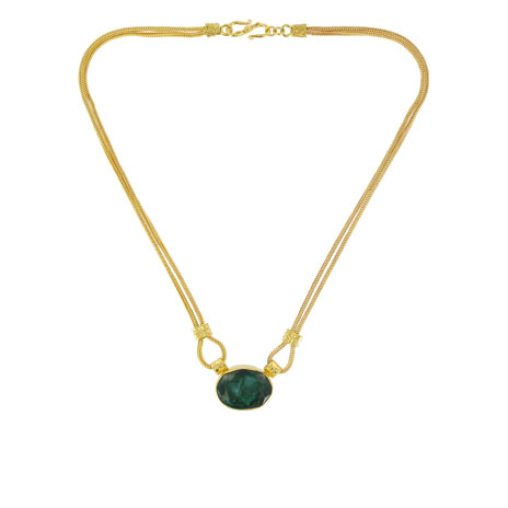 Two chain green agate necklace
