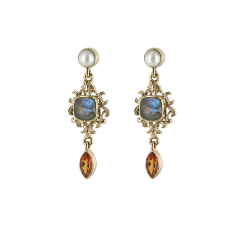 Waddesdon Labradorite and Pearl Earrings