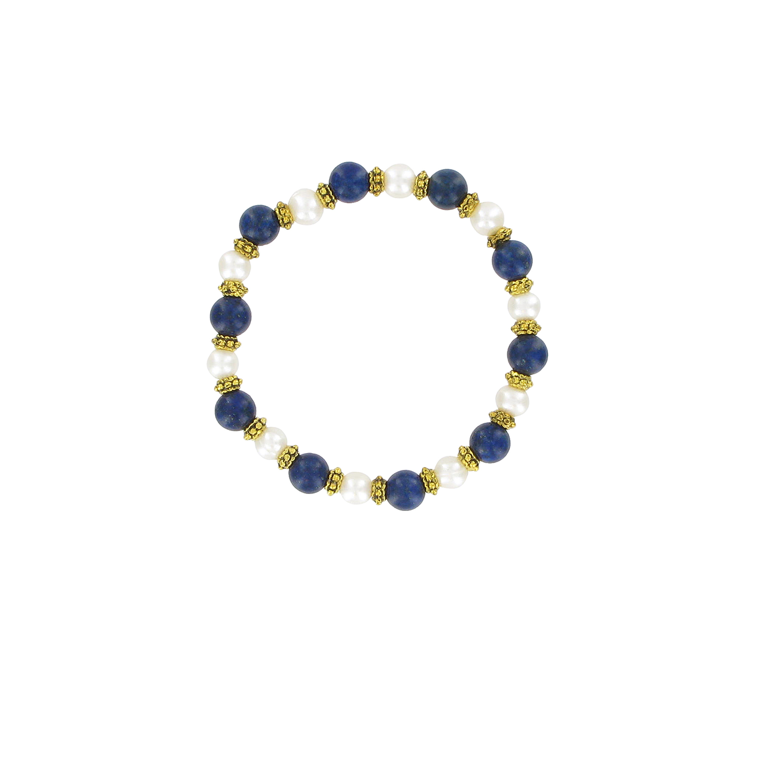 White pearl and lapis bracelet