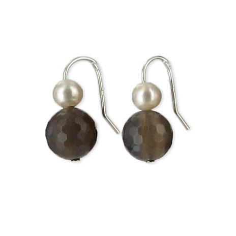Pearl drop earrings (grey agate)