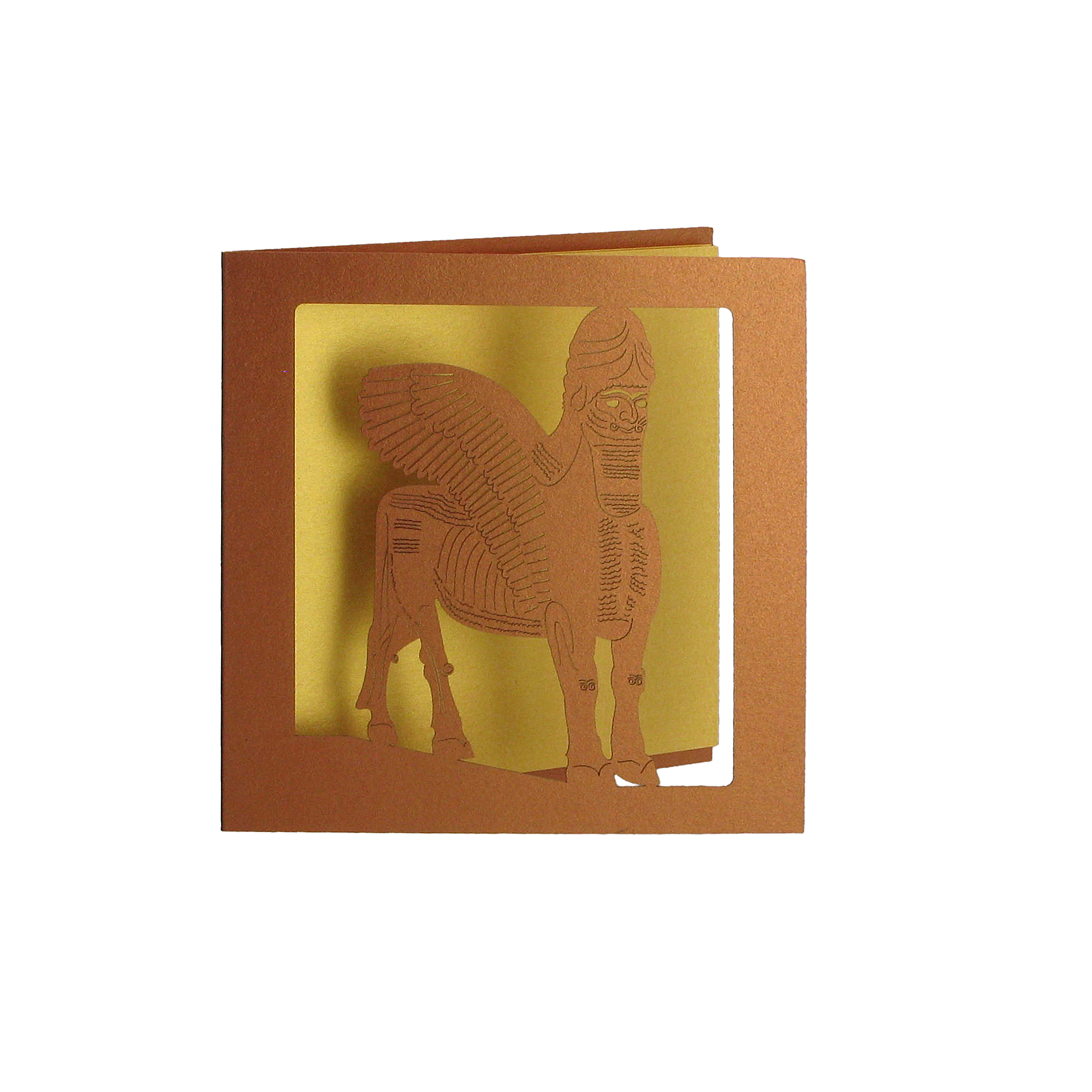 Winged Bull cut out greeting card