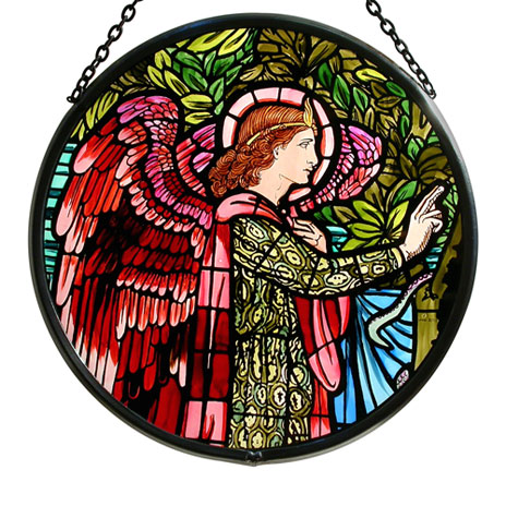 Angel Gabriel stained glass roundel (large)