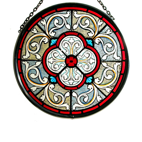 Grisaille stained glass roundel (small)
