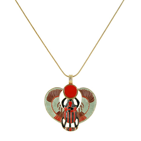 Winged Scarab rope necklace