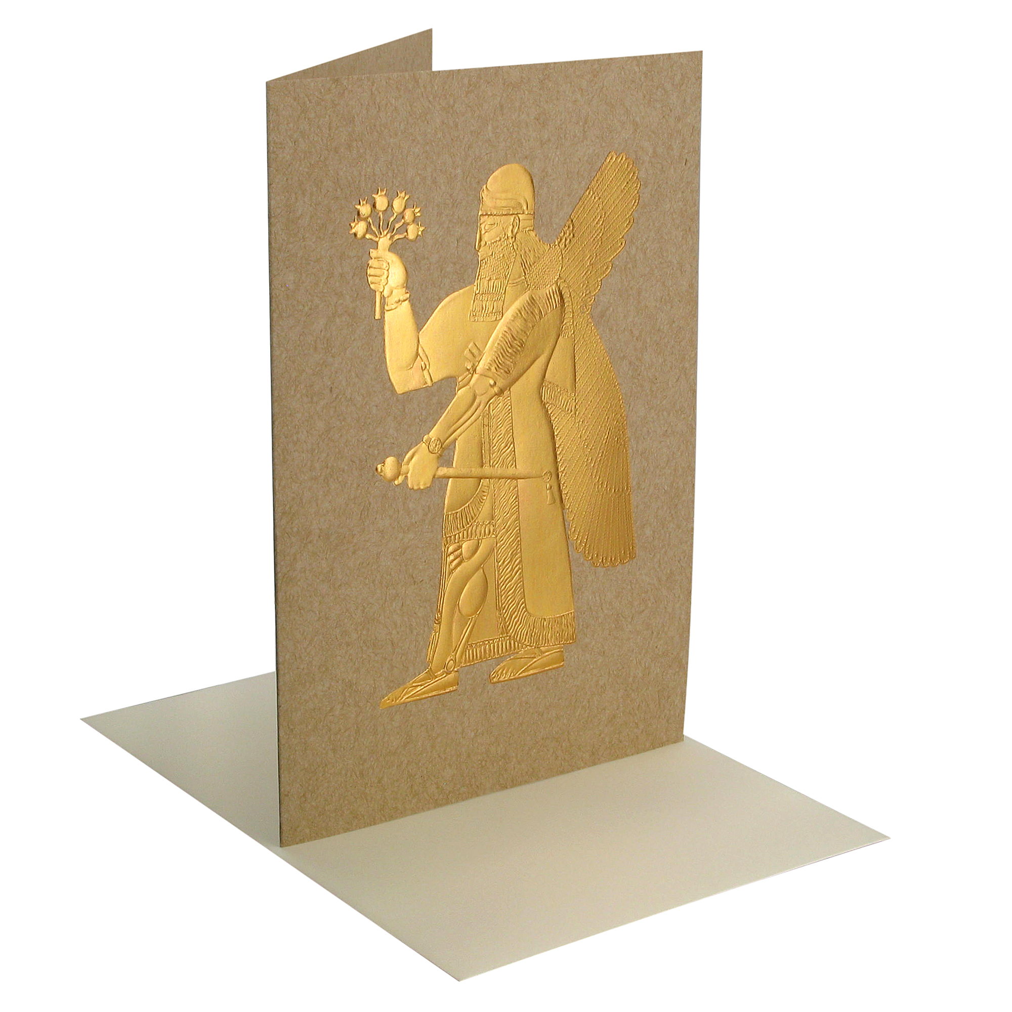 Assyrian winged divinity greeting card