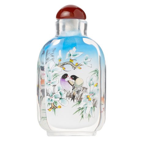 Pastel Birds glass snuff bottle