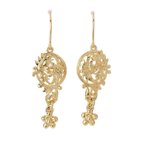 Victorian gold lace earrings