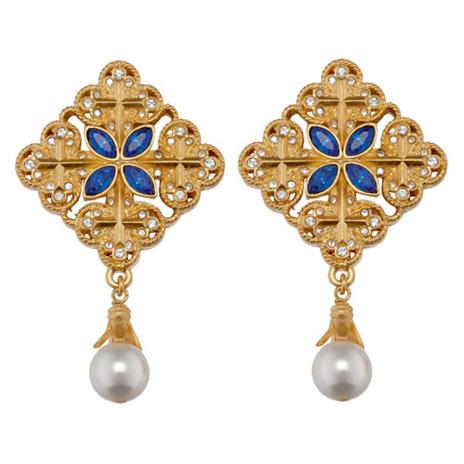 Victorian gold cross earrings