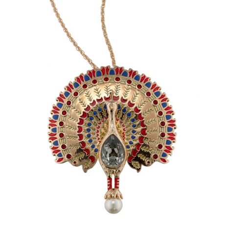 Peacock necklace and brooch
