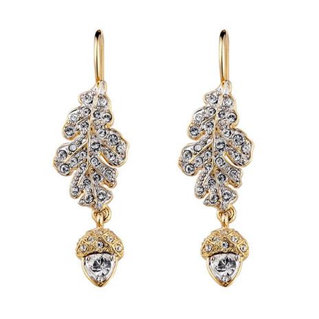 Silver oak and acorn drop earrings