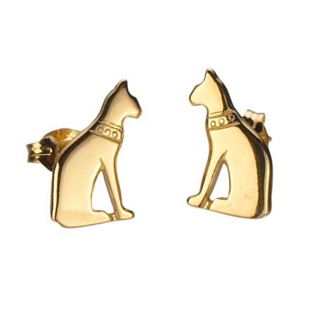 Cat gold earrings