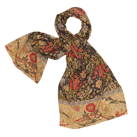 William Morris Floral Silk Scarf