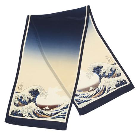 Fuji Wave print silk scarf