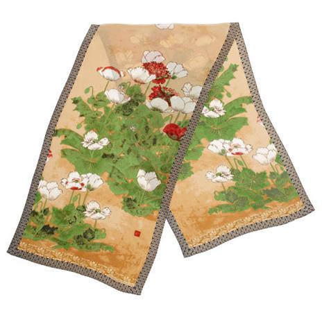 Japanese Poppies silk scarf