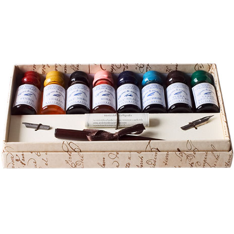 Wooden Pen Set with 8 inks