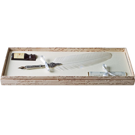 White feather quill set