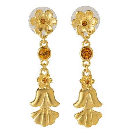 Acorn and flower earrings